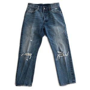 Levi's 501 High Rise Distressed Straight Leg Jean